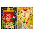 mexican sombrero guitar flag cinco de mayo vector image vector image