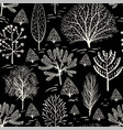 monochrome floral pattern wallpaper in two colors vector image