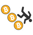 person fall down bitcoins flat icon vector image