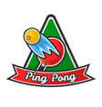 ping pong logotype with red racket and yellow ball vector image vector image