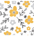 seamless pattern with flowers scandinavian vector image vector image