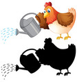 set chicken and watering can vector image vector image