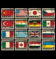set stamps with flags different countries vector image vector image