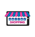 tablet with a store front online shopping vector image