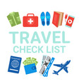 travel check list items on white background vector image vector image