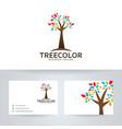 tree color logo design vector image vector image