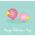 Two pink button birds Love cart Flat design style vector image vector image