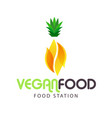 vegan food station pineapple background ima vector image vector image