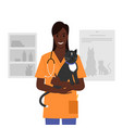 veterinarian holding a cat in his arms vector image