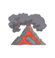 volcanic eruption lava flowing down the mountain vector image vector image