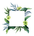 watercolor green card tropical leaves and vector image