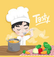 young chef is tasting vector image vector image