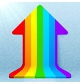 Rainbow stripes realistic plastic up arrow vector image