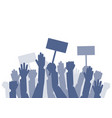 a lot of raised hands on the minig vector image vector image