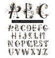 alphabet hand drawn floral uppercase letters vector image