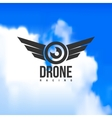 Beautiful drone racing logo on a sky background vector image vector image