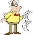 cartoon man looking at a bill vector image vector image
