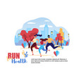 cartoon people run for health city street road vector image