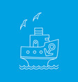 cartoon ship with anchor and gull vector image vector image