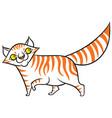 cartoon smiling tabby cat vector image vector image
