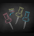 chalk drawn push pins vector image vector image