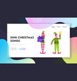 christmas characters website landing page cute vector image