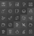 coffee outline icons on dark background vector image