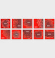 collection 10 backgrounds with red gradient vector image vector image