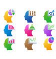 colorful business human head with statistics vector image vector image