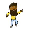 comic cartoon bearded man pointing the way