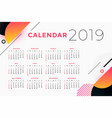 creative abstract 2019 calendar design vector image