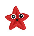 cute red sea star with big shiny eyes adorable vector image vector image