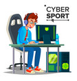 cyber sport player participant of cyber vector image vector image