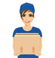 delivery service young woman holding cardboard box vector image vector image