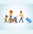 family travel with baggage cartoon concept vector image vector image