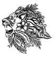 fauna lion head with flowers and vector image vector image