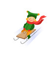 girl ride a sledge flat isolated vector image vector image