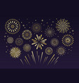 gold festive fireworks christmas pyrotechnics vector image