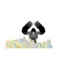 gorilla in city rampage big monkey destroys town vector image vector image