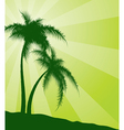 Green background with palm trees vector image