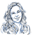 Hand-drawn of beautiful smiling woman Monoc vector image vector image