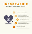 heart love american usa solid icon infographics 5 vector image vector image