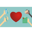 heart shape and hands with medical things vector image