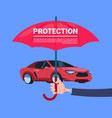 insurance service hand umbrella protective car on vector image