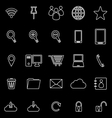 Internet line icons on black background vector image vector image