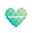 line icons in heart shape wedding vector image vector image