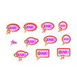 pink speech bubble icons set wish inscription vector image