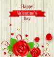 Red roses on a wooden background vector image