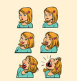 redhead or blonde woman laughing stage set vector image vector image