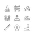 road works pixel perfect linear icons set traffic vector image